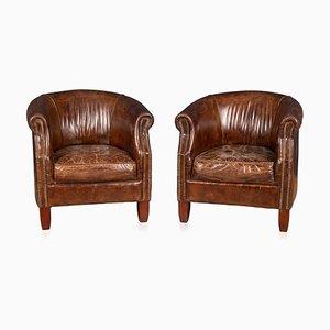 20th Century English Sheepskin Leather Tub Chairs, Set of 2