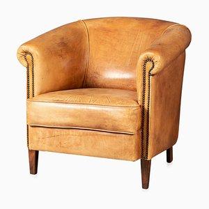 20th Century Dutch Sheepskin Leather Tub Chair