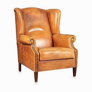 20th Century Dutch Sheepskin Leather Wingback Armchair
