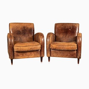 20th Century Art Deco Style Dutch Sheepskin Leather Club Chairs, Set of 2
