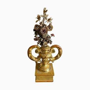 Antique Sicilian Gilded Wood Palm Holder with Flower Arrangement