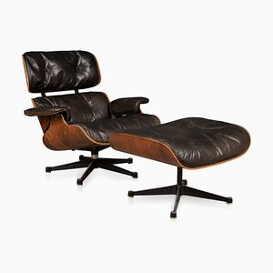 Second Series Lounge Chair & Ottoman by Charles & Ray Eames for Herman Miller, 1970s, Set of 2