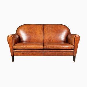 20th Century Art Deco Style Dutch Tan Sheepskin Leather 2-Seat Sofa