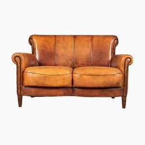 20th Century Dutch Tan Sheepskin Leather 2-Seat Sofa
