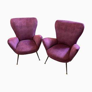 Mid-Century Modern Italian Purple Velvet and Brass Armchairs by Gio Ponti, 1950s, Set of 2