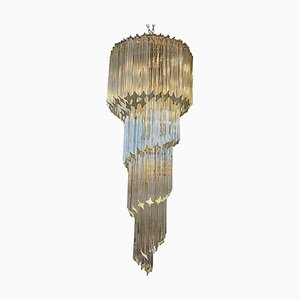 Spiralförmiger Mid-Century Modern Murano Glas Kronleuchter von Venini, 1970er