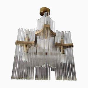 Mid-Century Modern Brass and Glass Chandelier by Gaetano Sciolari, 1970s
