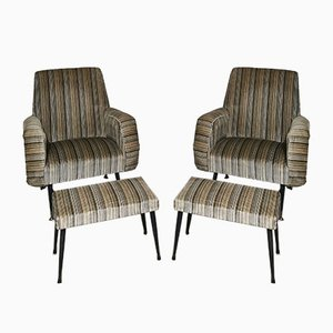 Set of 2 Chairs and 2 Footrests in Velvet, Black Lacquered Metal and Brass by Gigi Radice for Minotti, Italy, 1950s