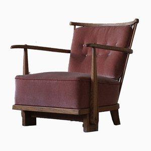 Mid-Century Danish Model 1590 Easy Chair in Oak by Fritz Hansen, 1940s