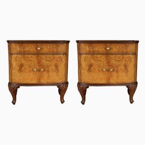 Italian Bedside Tables Inlaid in Walnut, Burl, Maple and Beech, Set of 2