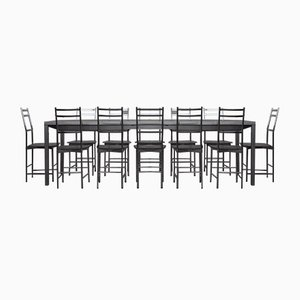Bagutta Table and Chairs in Aluminum by Opera Design for Ycami, 1980s, Set of 13