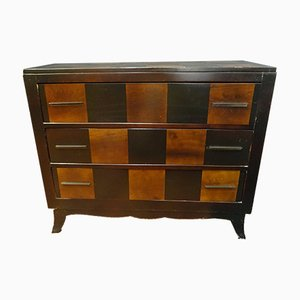 French Art Deco Chest of Drawers with Chessboard Pattern, 1930s
