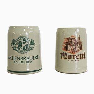 Beer Mugs from Moretti Udine & Aktienbrauerei Kaufbeuren, 1980s, Set of 2