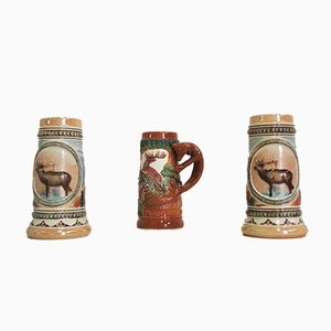 Beer Mugs with Animal Representation, 1980s, Set of 3