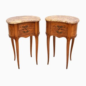 Antique French Bedside Kidney Tables with Marble Tops, Set of 2