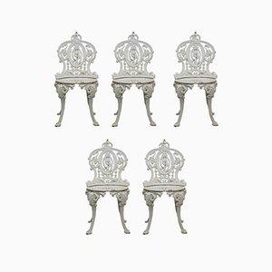 Sillas de jardín victorianas de hierro fundido de Coalbrookdale, década de 1880. Juego de 5