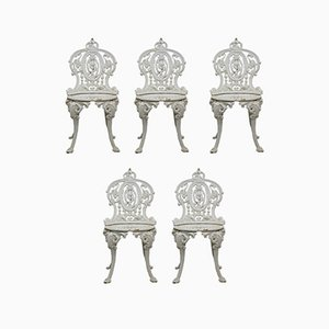 Victorian Cast Iron Garden Chairs from Coalbrookdale, 1880s, Set of 5