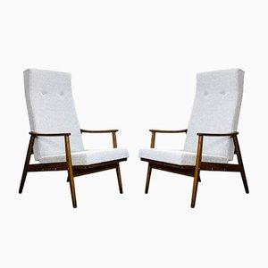 Mid-Century Lehnstühle mit Hoher Rückenlehne von TON, 1960er, 2er Set
