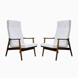 Mid-Century Reclining High-Back Armchairs from TON, 1960s, Set of 2