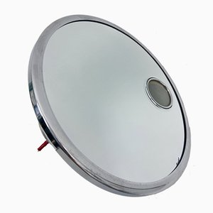 Nickel & Copper Magnifying Vanity Mirror by Maison Brot, 1930s