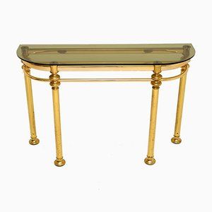 Vintage Brass & Glass Console Table, 1970s