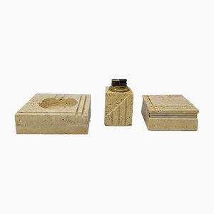 Smoking Set in Travertine by Enzo Mari for Fratelli Mannelli, 1970s
