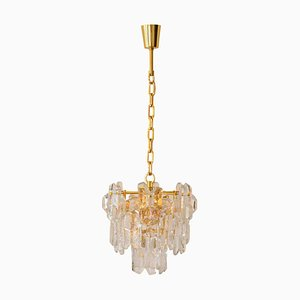 Thick Textured Clear Glass Chandelier by J. T. Kalmar