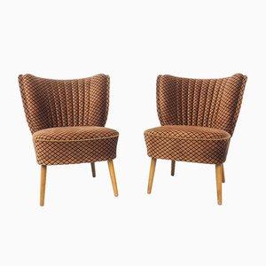 Vintage German Velvet Cocktail Chairs, 1950s, Set of 2
