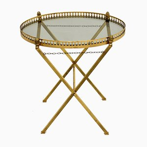 Vintage French Brass Serving Table with Glass Top