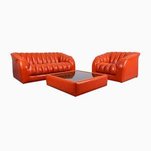 Vintage 2-Sitzer Sofa, Sessel & Couchtisch aus Leder, 1970er, 3er Set