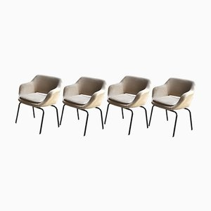 Mid-Century Italian Dining or Side Chairs in White Wool Fabric from MIM Roma, 1960s, Set of 4