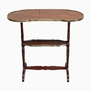 Small Louis XVI Style Trolley Table in Kidney Shape with Mahogany Veneer, Late 19th Century