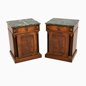 Antique Georgian Style Marble Top Bedside Cabinets, Set of 2