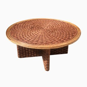 Coffee Table in Braided Rope and Rattan, 1970s