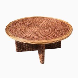 Tavolino da caffè in corda intrecciata e vimini, anni '70