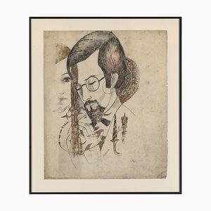 Porträt eines Mannes und einer Frau, Zeichnung auf Papier von Marguerite Akarova (Sint-Joost-Ten-Node, 1904 - Elsene, 1999)