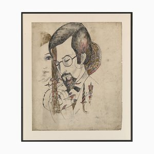 Portrait of a Man and a Woman, Drawing on Paper by Marguerite Akarova (Sint-Joost-Ten-Node, 1904 - Elsene, 1999)