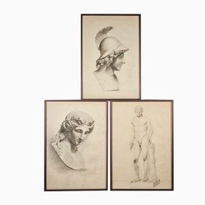 Head of Pallas Athena by Unknown Academy Student, 19th Century, Pencil Drawings on Paper, Set of 3