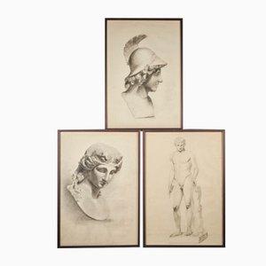 Tête de Pallas Athena par Unknown Academy Student, 19th Century, Pencil Drawings on Paper, Set of 3