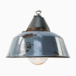 Vintage Industrial Cast Iron, Grey-Blue Enamel & Clear Glass Factory Pendant