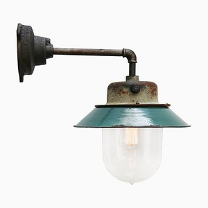 Industrielle Vintage Wandlampe aus Emaille & Klarglas in Petrolblau