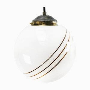 Vintage European Gold-Striped Opaline Glass Globe Pendant with Brass Top