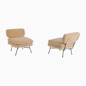 Elettra Armchairs in Italian Sheepskin by BBPR for Arflex, Set of 2