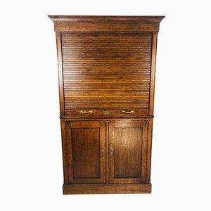 Vintage Schrank oder Sekretär aus Eiche mit Rolltüren