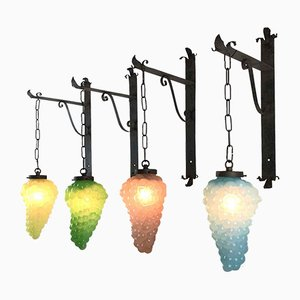 Sconces in Glass with Grape Clusters, Set of 4