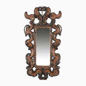 Florentiner Dekorativer Spiegel mit Geschnitzten & Versilbertem Rahmen