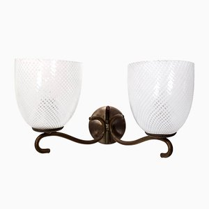 Murano Glass and Brass Sconce from Venini, Italy