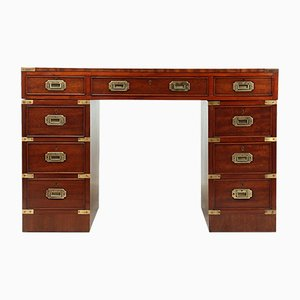Mahogany Military Campaign Desk with Leather Top