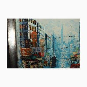 Oil Painting of Busy Hong Kong Street Scene