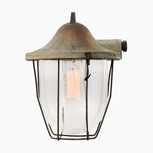 Vintage Industrial Gray Metal & Clear Glass Cage Pendant Lamp